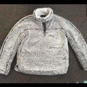 Sherpa fleece quarter zip pullover sweater